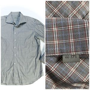 Canali Italy Plaid Cotton Button Up Shirt
